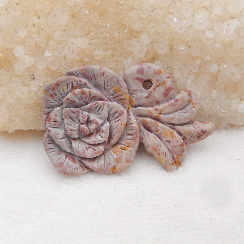 47cts Hand Carved Jasper Gemstone Flower Pendant H514