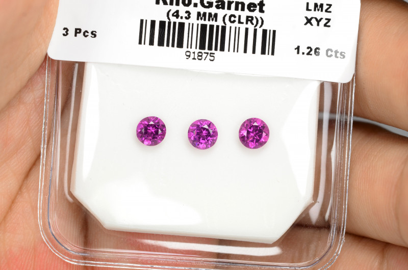 1.26 Cts 3 Pcs Unheated Natural Cherry Pink Rhodolite Garnet Gemstone