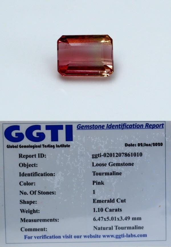 NR!!! GGTI-Certified- 1.10 Cts Pink Tourmaline Gemstone