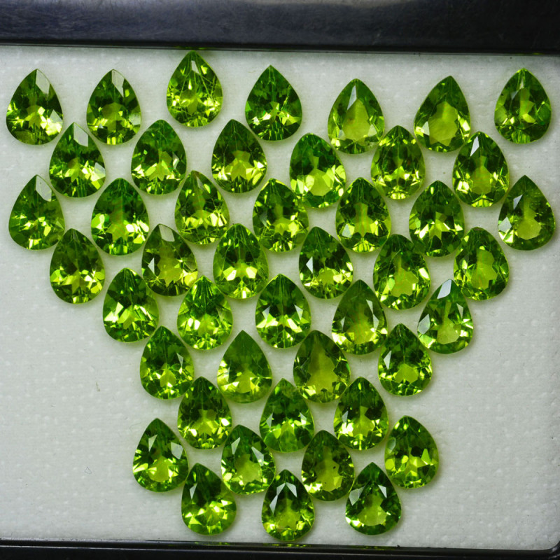 Parrot Green 51.21Ct Natural Green Peridot Pear 8 X 6mm Parcel