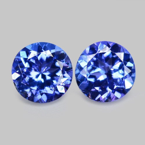1.12 Cts Pair Round  Violet Blue Natural Tanzanite Gemstone