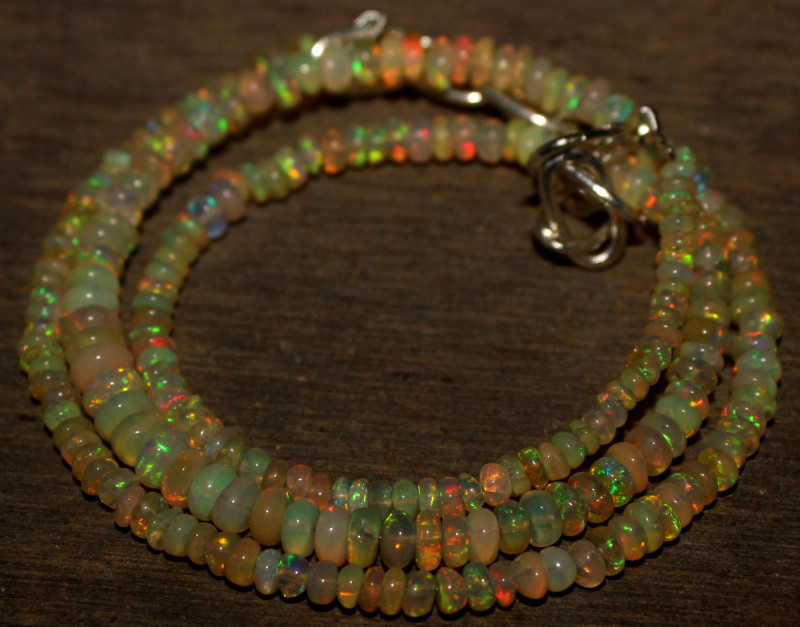 31 Crts Natural Ethiopian Welo Opal Beads Necklace 783