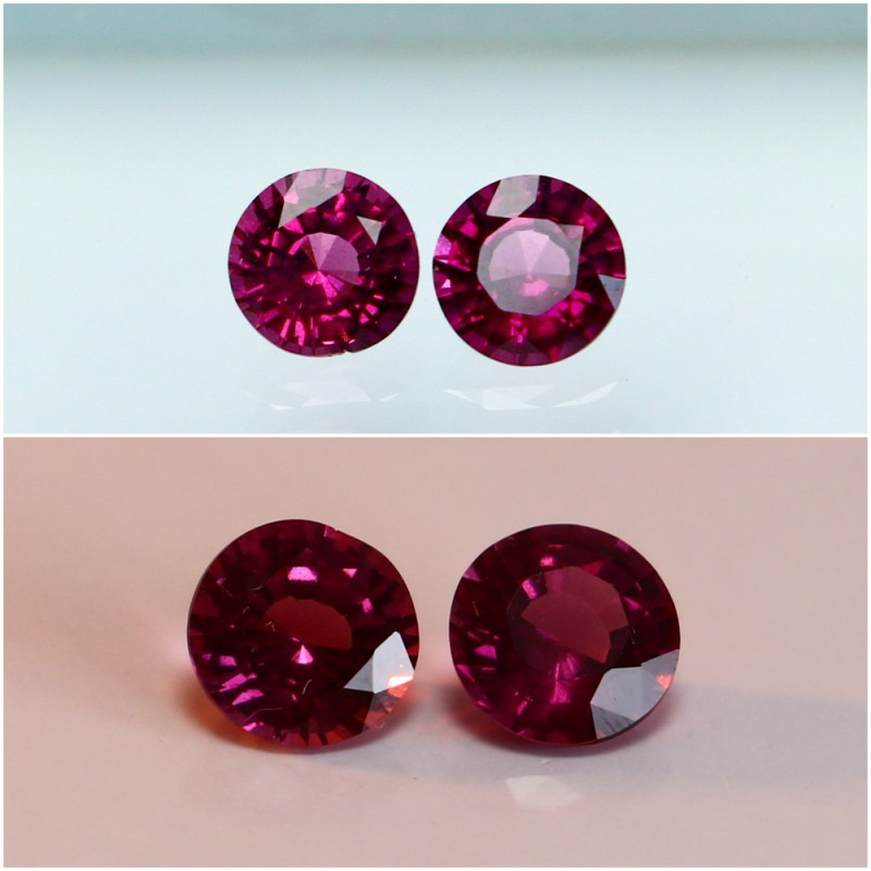 1.35 CTs Natural - Unheated Purple To Red Color Change Garnet Gemstone Pair