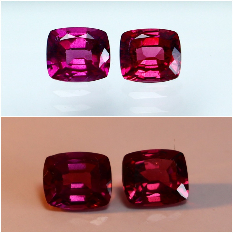 1.90 CTs Natural - Unheated Purple To Red Color Change Garnet Gemstone Pair