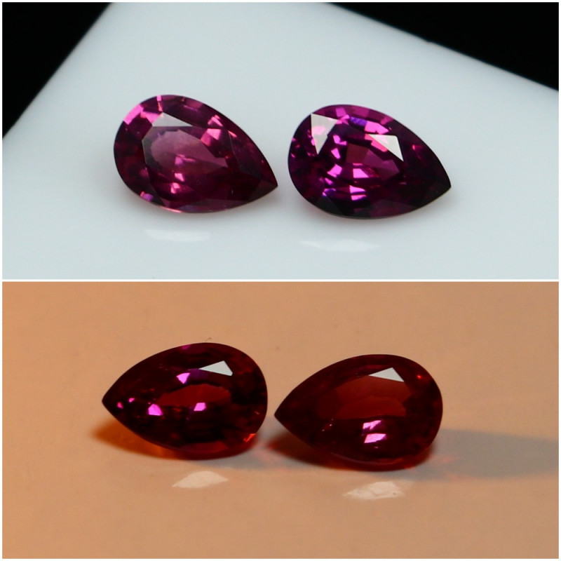 1.15 CTs Natural - Unheated Purple To Red Color Change Garnet Gemstone Pair