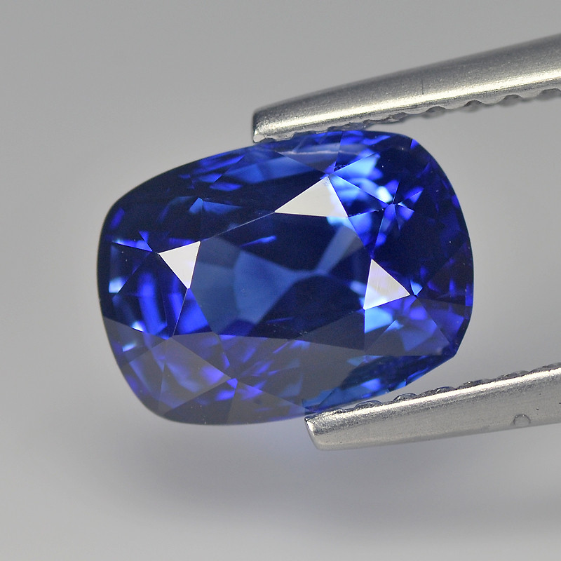 Incredible Royal Blue Cylon Sapphire 2.37 Cts Step Cut Cushion BGC587