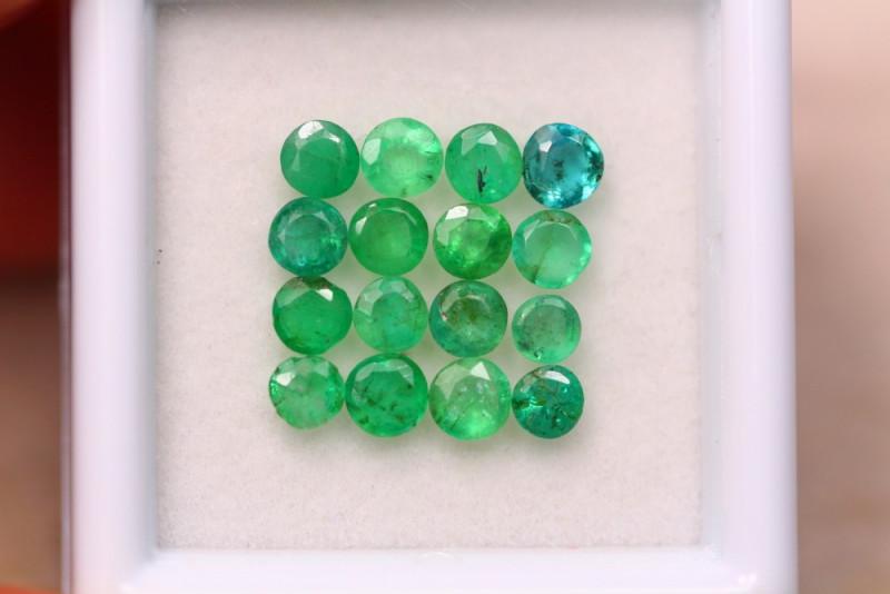 2.38Ct Natural Zambia Green Emerald Round Cut Lot A976