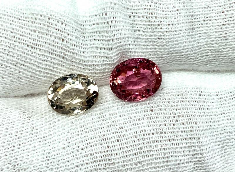 2.92ct Light Yellow and Pink Tourmaline Pair 2 pieces