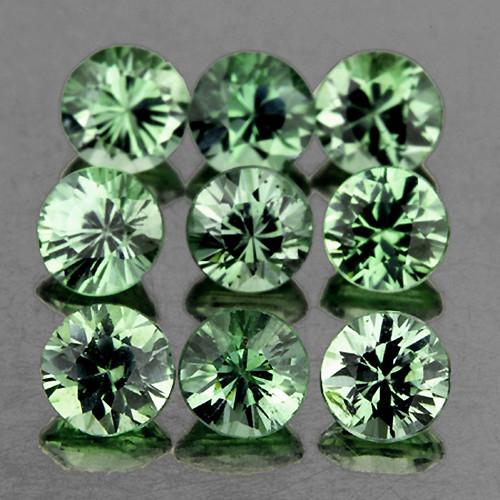 2.80 mm Round 9 pcs 1.08cts Green Sapphire [VVS}
