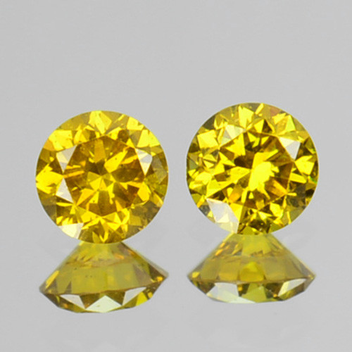 ~SPARKLING~ 0.12 Cts Natural Golden Diamond 2.47mm Round 2Pcs Africa