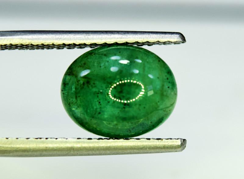 Emerald, 4.75 Carats Oval Natural Zambian Emerald Cabochon