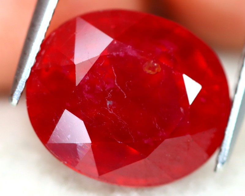 Red Ruby 9.53Ct Oval Cut Pigeon Blood Red Ruby C1205