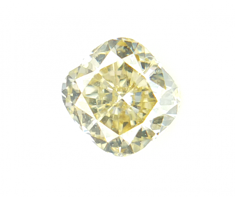 0.33 CTS , Natural Yellow Diamond , Cushion Brilliant Cut