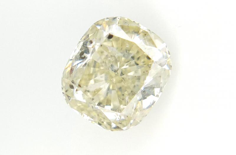 1.01 cts , Light Yellow Diamond , Cushion Brilliant Cut