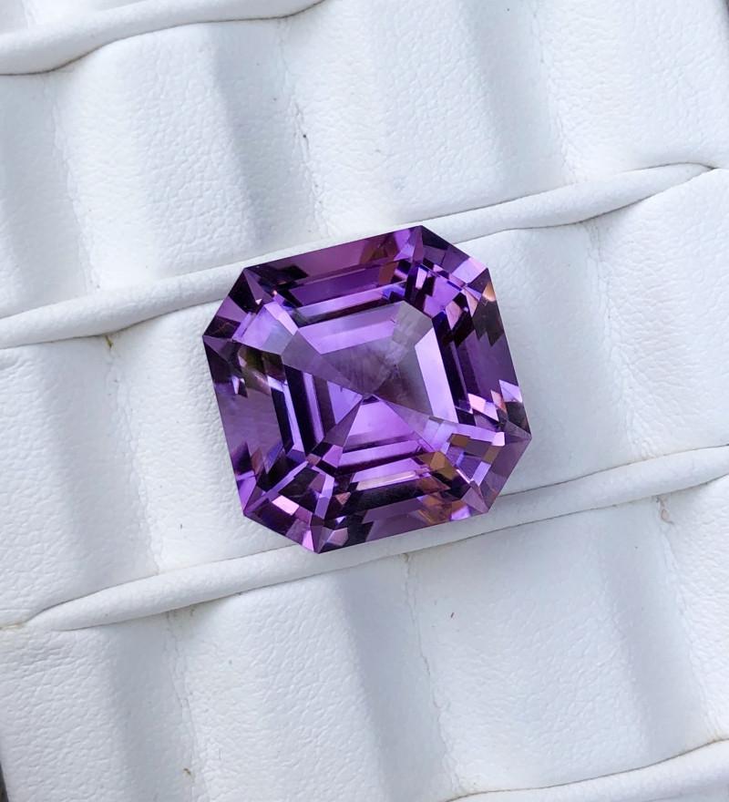 22.90 Carats Rich Color Asscher Cut Amethyst Loose Gemstone