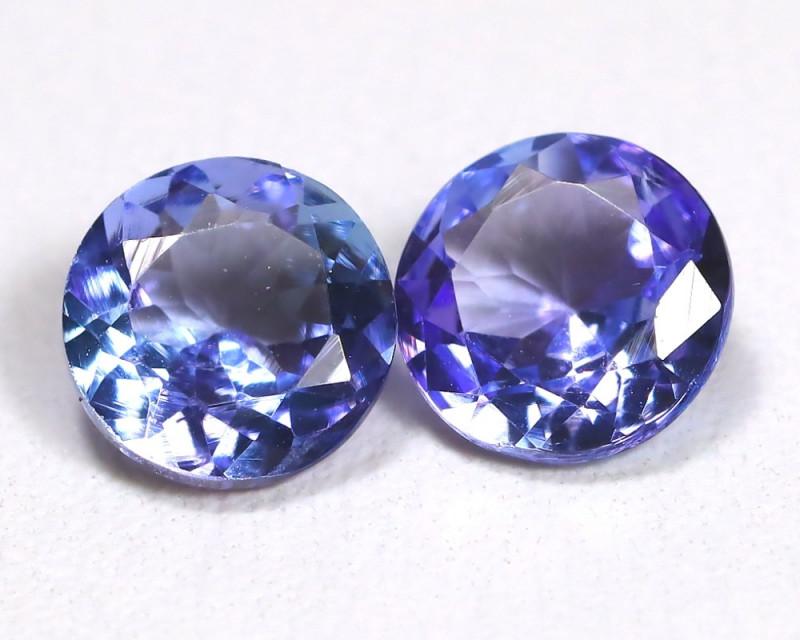 Tanzanite 1.64Ct 2Pcs Round Cut Natural Purplish Blue Tanzanite C1308