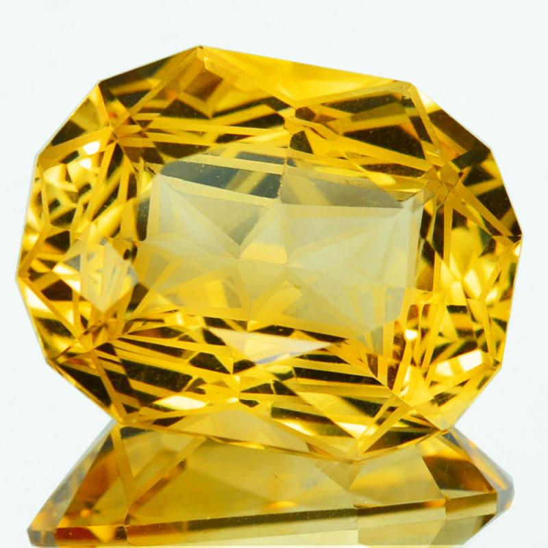 ~CUSTOM CUT~ 12.65 Cts Natural Golden Orange Citrine Fancy Cushion Brazil
