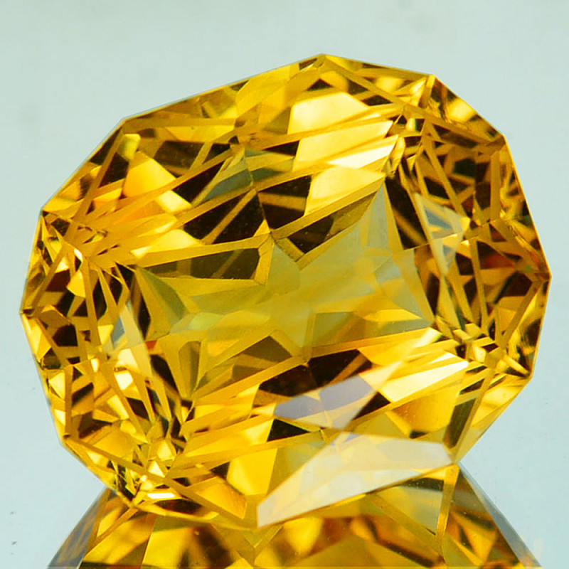 ~CUSTOM CUT~ 13.16 Cts Natural Golden Orange Citrine Fancy Cushion Brazil