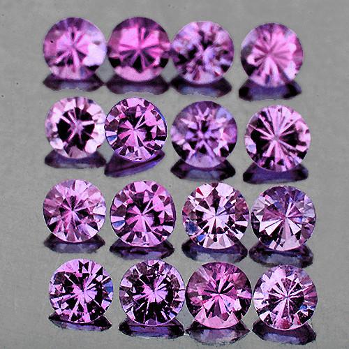 2.20 mm Round 20 pcs 1.10cts Purplish Pink Sapphire [VVS]