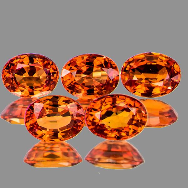 4x3 mm Oval 5 pcs 1.27cts Orange Sapphire [VVS]