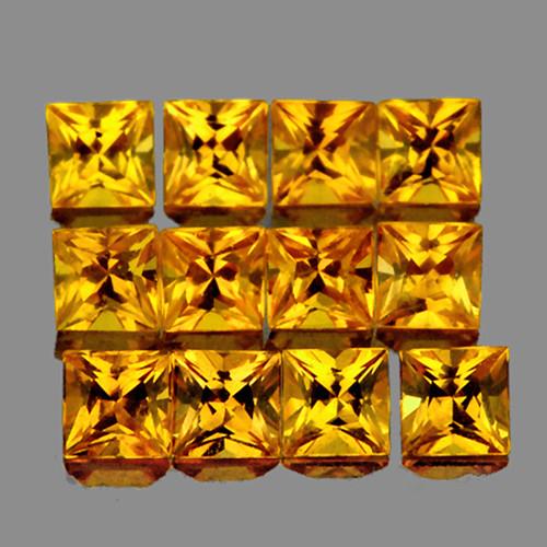 2.40 mm Square 12 pcs 1.16cts Yellow Sapphire [VVS}