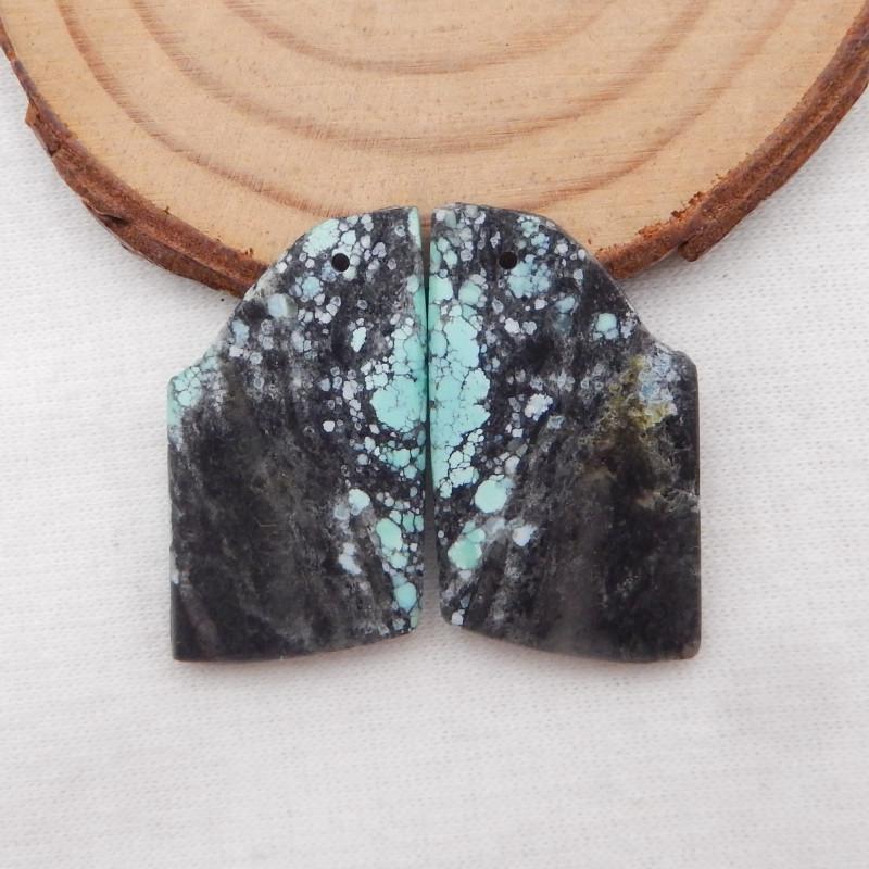 38.5cts Nugget Turquoise Earrings,Handmade Gemstone ,Turquoise Earrings ,Lu