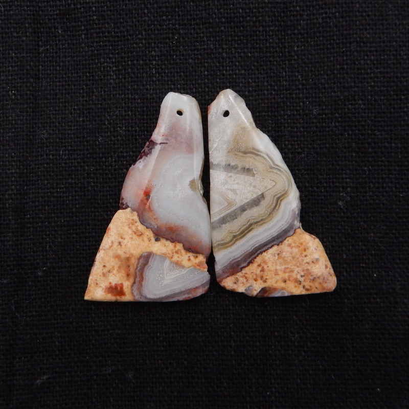 40cts Nugget Crazy Lace Agate Earrings ,Handmade Gemstone ,Lucky Stone H712