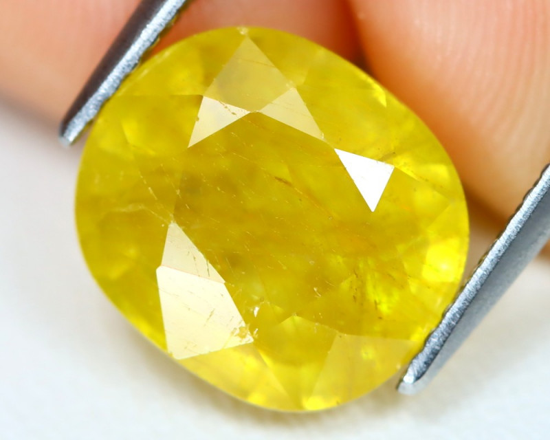 Yellow Sapphire 6.69Ct Oval Cut Yellow Color Sapphire B1403