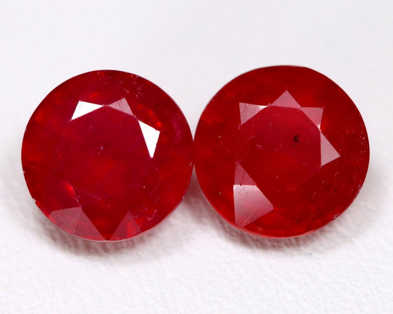 Red Ruby 5.71Ct 2Pcs Round Cut Pigeon Blood Red Ruby B1408