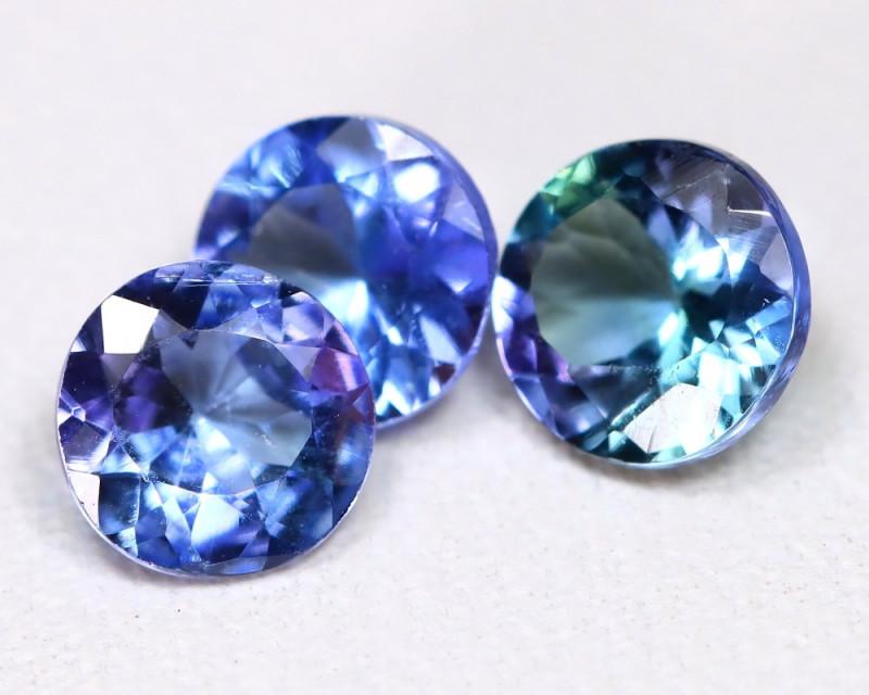 Tanzanite 1.37Ct 3Pcs Round Cut Natural Purplish Blue Color Tanzanite C1412
