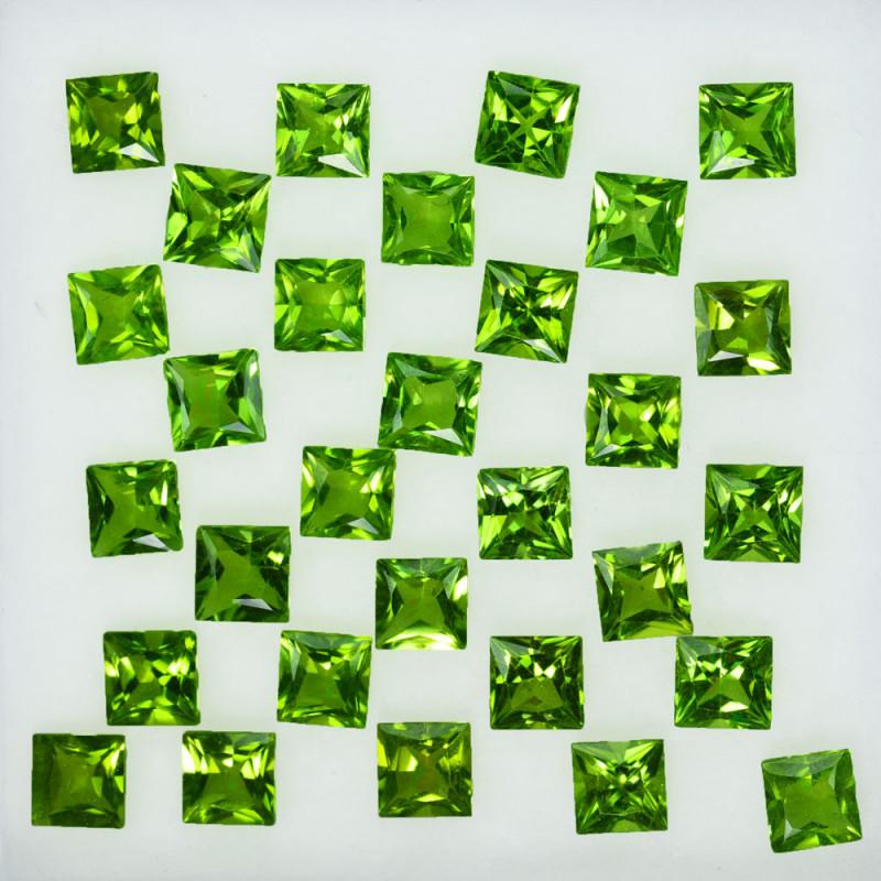 20.00Ct Natural Green Peridot 8mm Square Princess 5mm Parcel