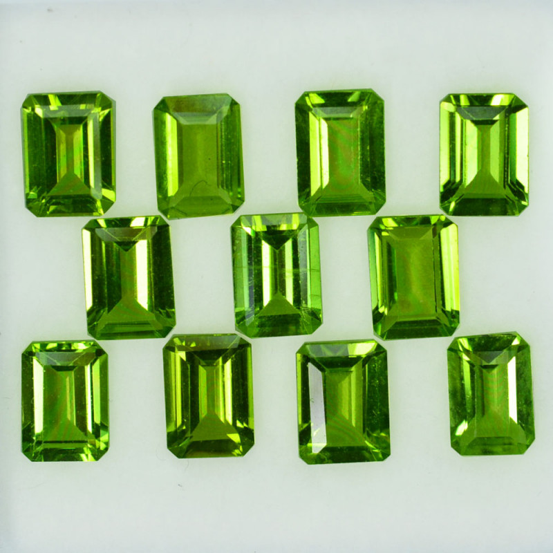 9.64Ct Natural Green Peridot 7 X 5mm Octagon Parcel
