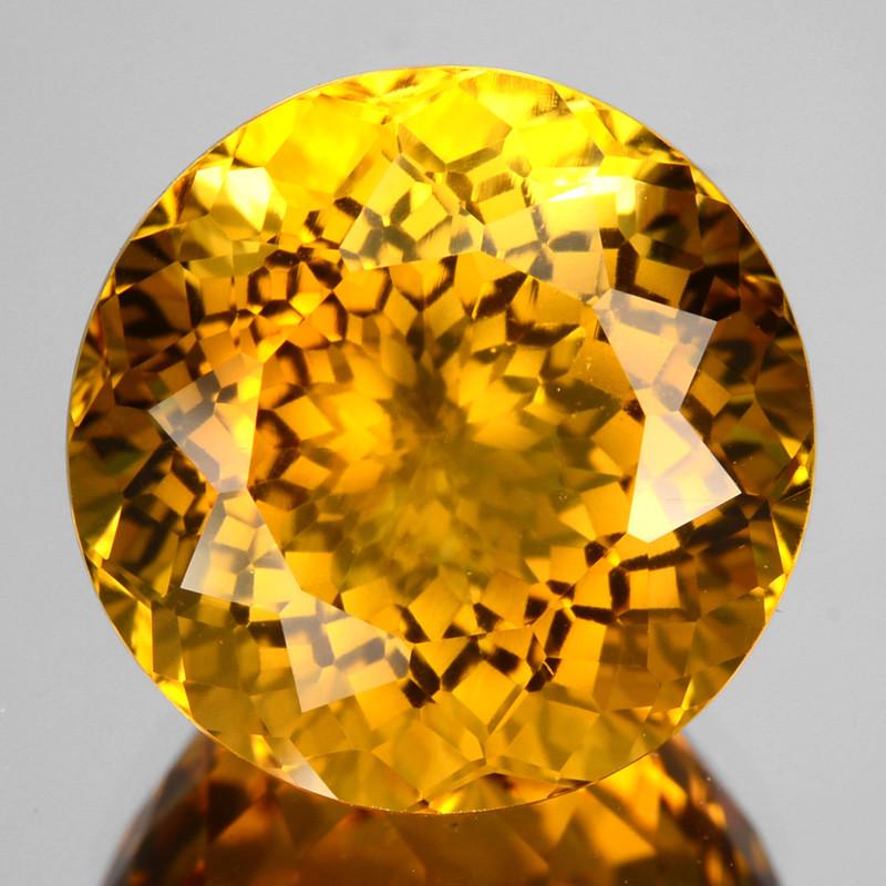 ~CUSTOM CUT~ 5.65 Cts Natural Golden Orange Citrine Round Fancy Brazil