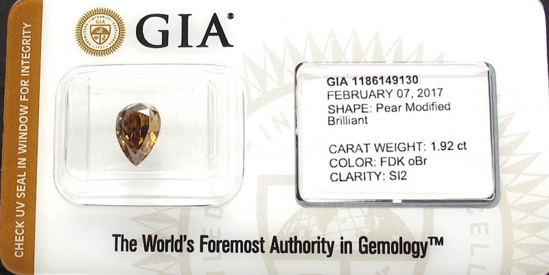 1.92ct Natural Fancy orangy Brown Diamond GIA certified + VIDEO
