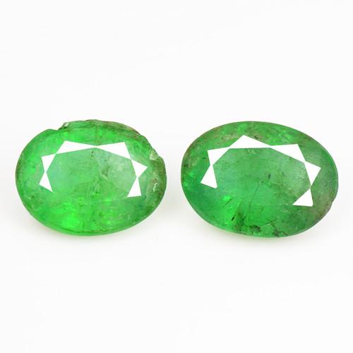 *No Reserve* Emerald 2.00 Cts 2Pcs Natural  Green Zambian Emerald Loose Gem