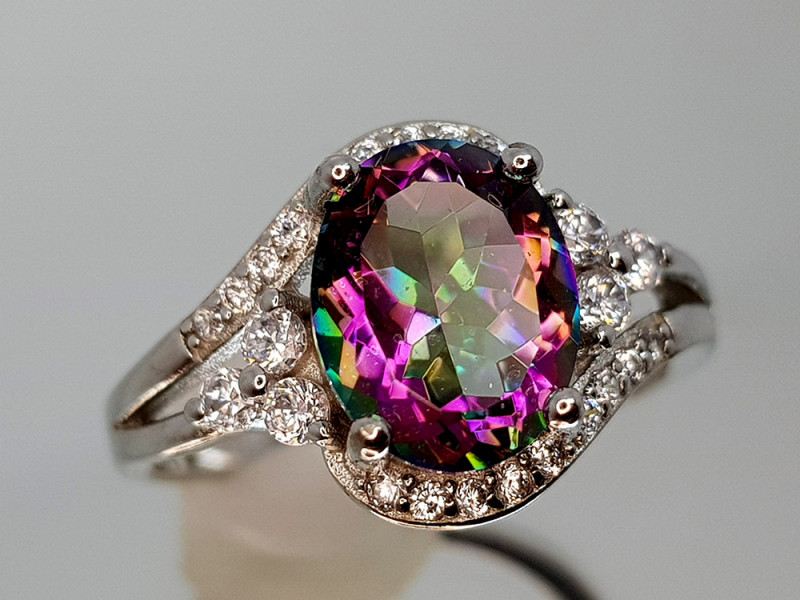 17Crt Mystic Quartz Silver Ring 7 Natural Gemstones JI09