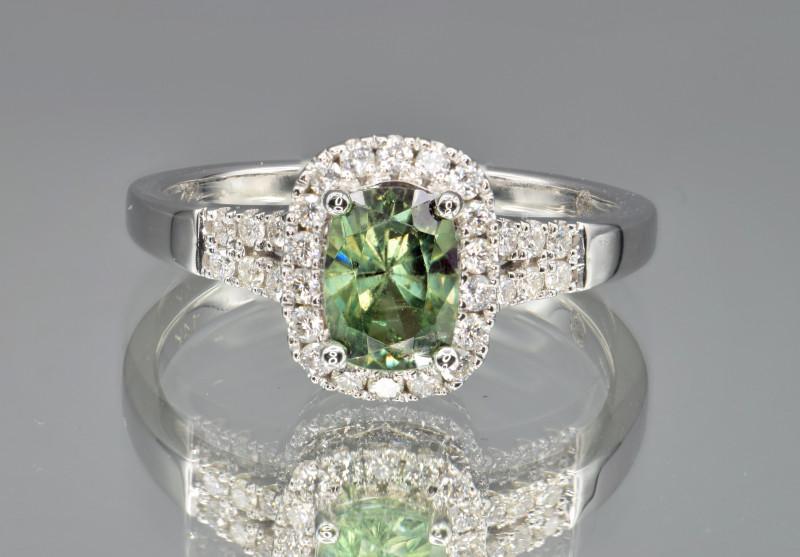 Natural Demantoid Garnet, Diamonds and 14K White Gold Ring, Elegant Design