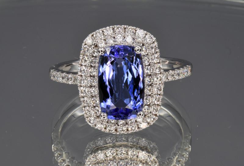 Natural Tanzanite, Diamonds and 14K White Gold Ring, Elegant Design