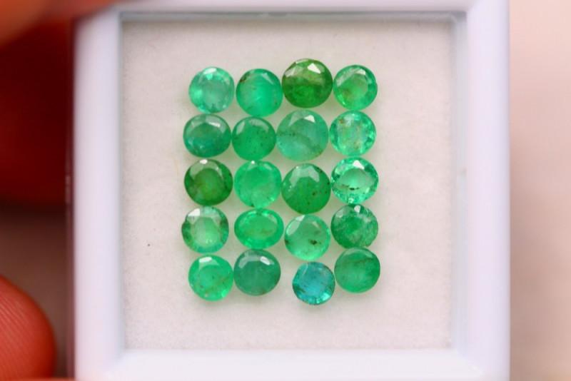2.86ct Natural Zambia Green Emerald Round Cut Lot V7957