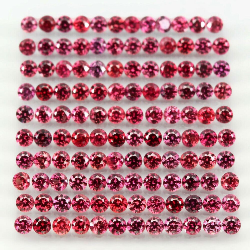 Rare 3.63ct 120pc 1.7mm Round 100% Natural Top Rich Red Ruby Songea Tanzani