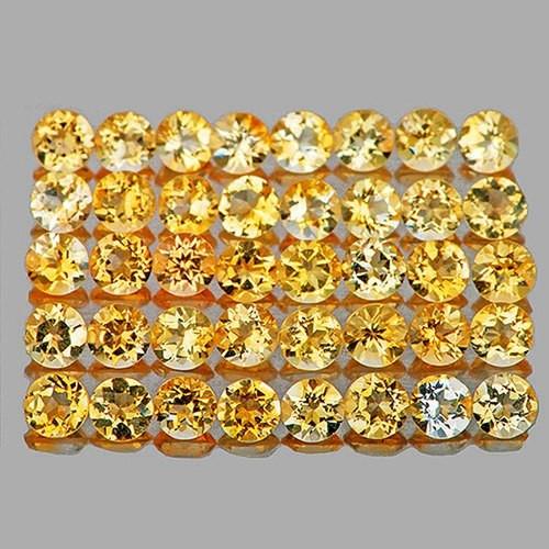 1.70 mm Round 50 pcs 1.03cts Golden Yellow Citrine [VVS]