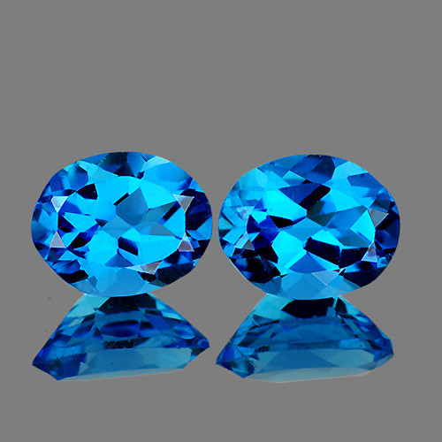 9x7 mm Oval 2 pcs 4.67cts Swiss Blue Topaz [VVS]