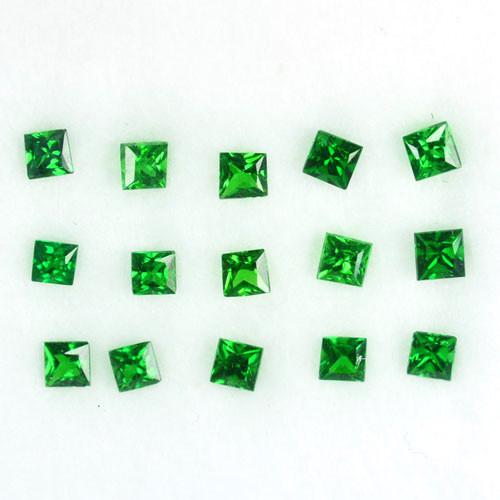 1.10 Cts Natural Vivid Green Tsavorite Garnet 15Pcs Square Cut Parcel Ken