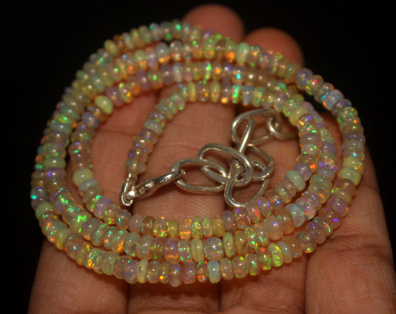 38 Crts Natural Ethiopian Welo Opal Beads Necklace 69