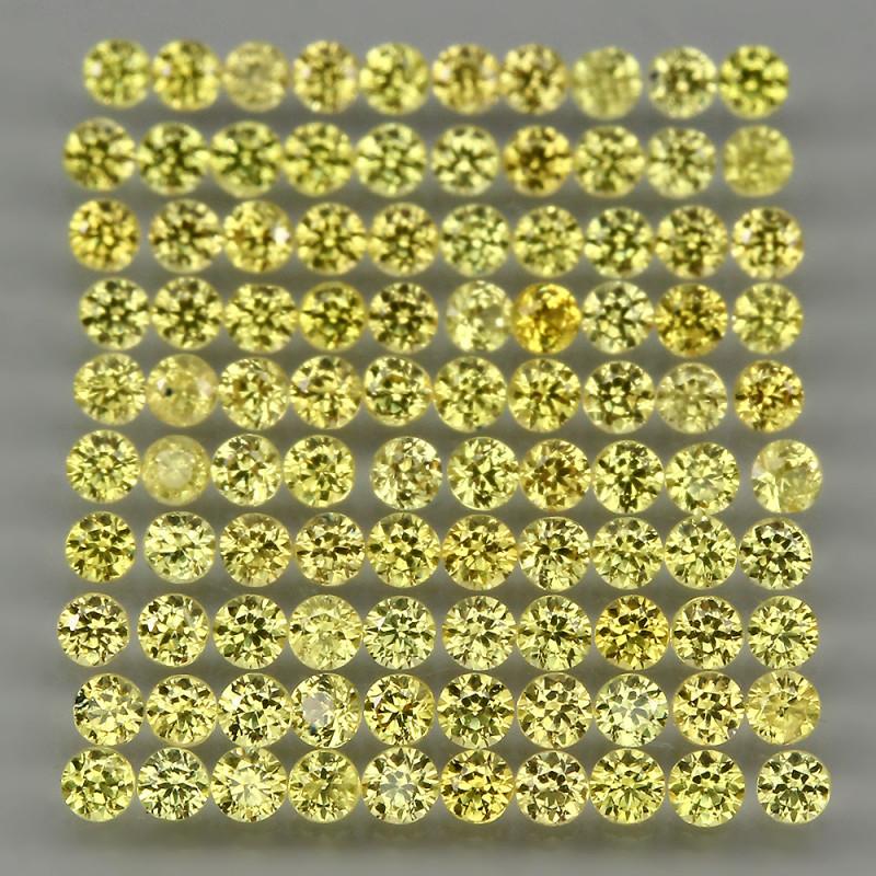 4.06ct 1.7mm 139pcs. Round Diamond Cut 100% Natural Top Nice Yellow Sapphir