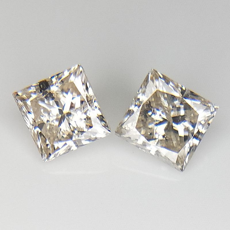 2/0.92 cts , Princess Brilliant Cut , Loose Diamonds
