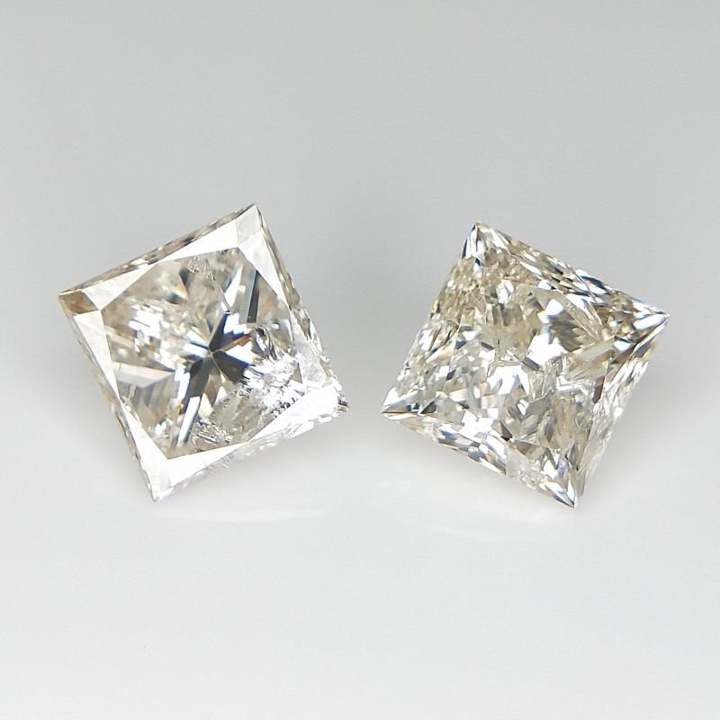 2/1.26 cts , Princess Brilliant Cut , Natural Square Diamonds