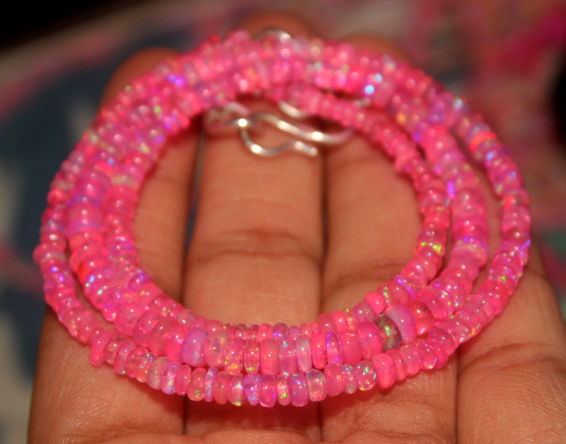 34 Crts Natural Ethiopian Welo Dyed Pink Opal Beads Necklace 42