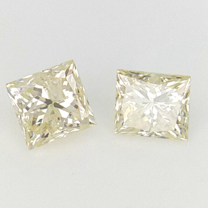 2/0.30 CT , Princess Natural Diamond , Brilliant Cut