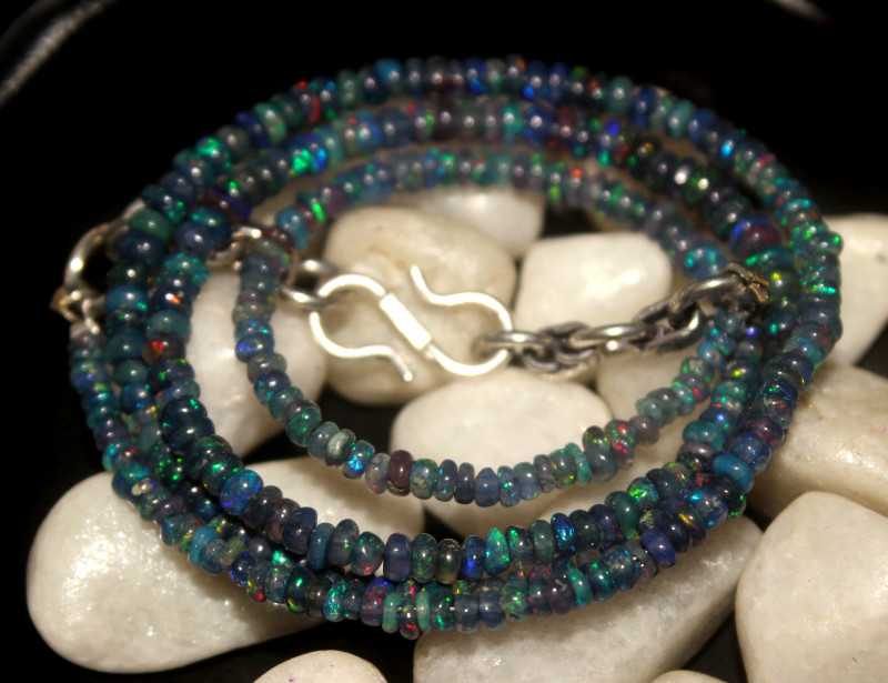 30 Crts Natural Ethiopian Welo Smoked Opal Beads Necklace 88